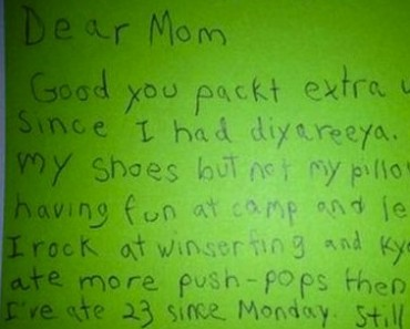 funny, funny kid, funny kids, letter from camp, a letter from camp, summer camp letter to parents, summer camp letter