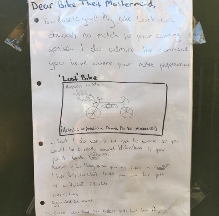 funny letter, funny letters, funny sign, funny signs, letter to bike thief, funny pictures, funny pics, funny photos, funny photo, funny pic, funny picture, funny vids, funny vid, bike theft victim, letter to the bike thief