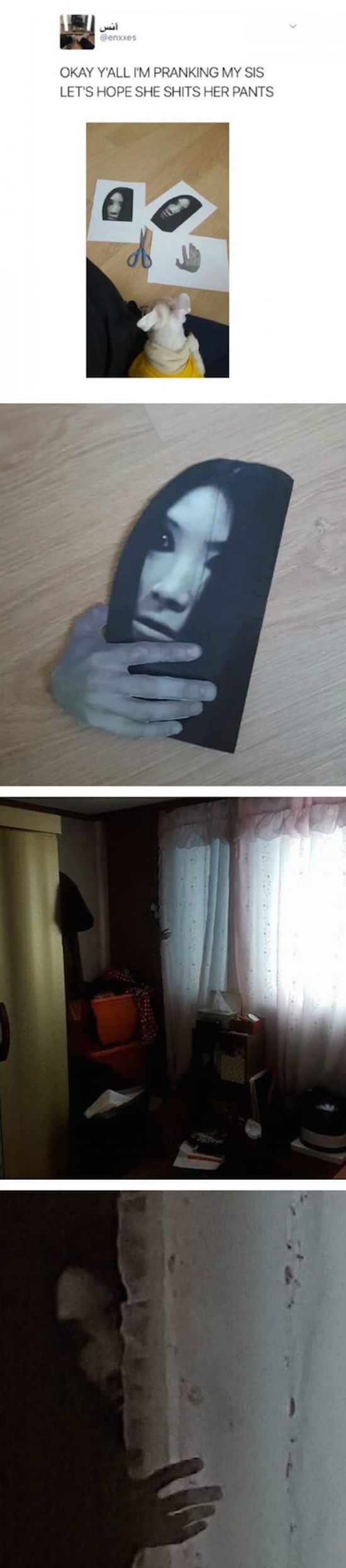funny prank with scary face cutout to scare sister