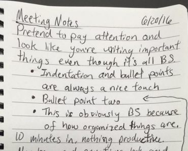 meeting notes, funny meeting notes, fake meeting notes, hilarious meeting notes, best meeting notes, take meeting notes, fake notes during meeting