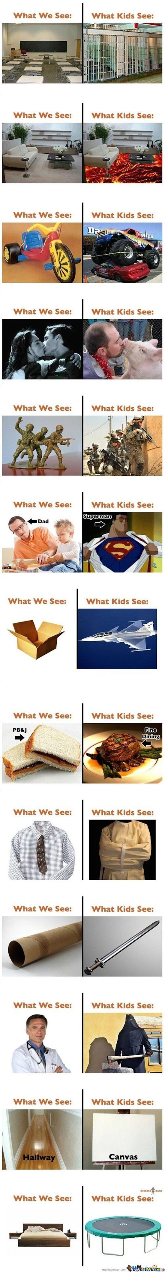 pics of what kids see vs what we see