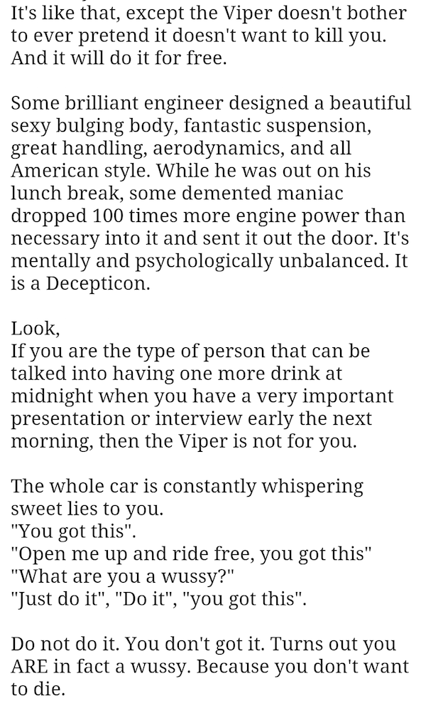 honest dodge viper ad, funny car ad, funny ads, honest viper ad, dodge viper, dodger viper funny