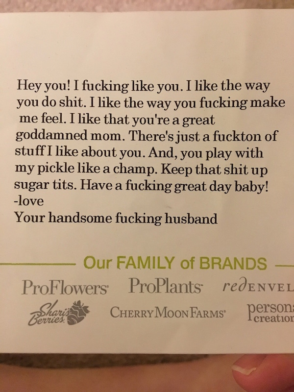 funny note, funny notes, inappropriate flower note, note with flowers, funny love letter, love letter funny, love letter cursing, curse words, cussing, funny romance, funny card, card funny, love funny