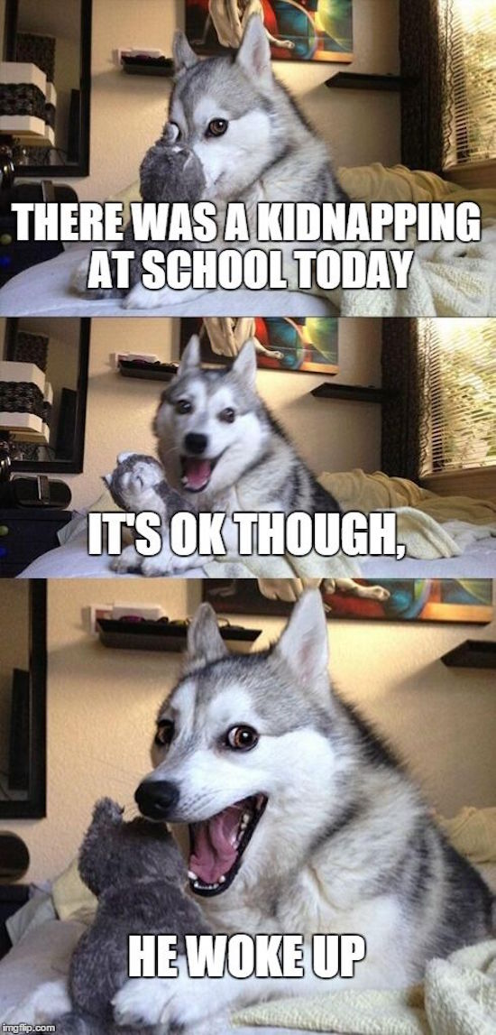 funny pictures of pun husky kidnapping joke