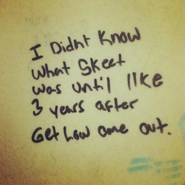 Bathroom stall writing