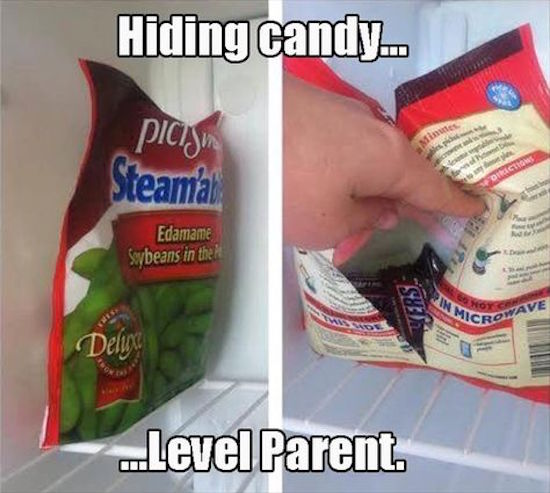 funny picture of hiding candy level parent