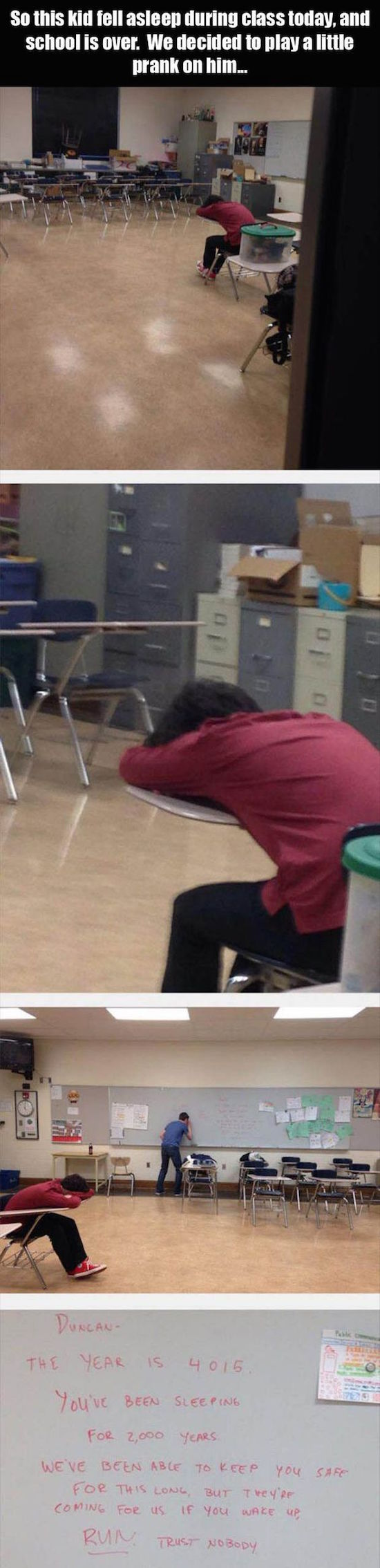 funny prank played on kid who feel asleep in class