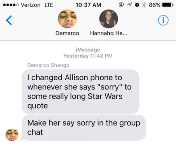 star wars autocorrect text prank, star wars quote prank, star wars quote funny, funny star wars quote, star was text, text star wars, star wars autcorrect, autocorrect star wars, changed text to star wars quote, sorry to star wars quote, funny texts, autocorrect prank, funny prank, funny pranks, best prank, best pranks, easy prank, easy pranks, funny group text, funny group texts, best autocorrect prank, funniest text ever, funniest texts, funniest prank ever, funniest pranks
