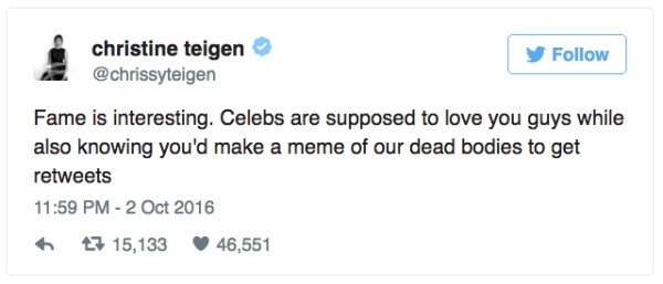 chrissy teigen tweets, chrissy teigen twitter, twitter chrissy teigen, tweets chrissy teigen, chrissy teigen's best tweets, chrissy teigen funny, funny chrissy teigen, who is chrissy teigen, funniest chrissy teigen tweets, top chrissy teigen tweets, tweets by chrissy teigen, best of chrissy teigen, chrissy teigen hilarious, hilarious chrissy teigen, celebrity tweets, celebrity twitter, twitter celebrities, tweets celebrities, best celebrities to follow on twitter, funniest celebrities, funny celebrities, funny celebs, funniest celebs, funniest celebs to follow on twitter, funniest tweets, funny tweets, best tweets, top tweets, tweets, tweet, top tweet, best tweet, funny tweet, funniest tweet, hilarious tweets, very funny tweets, funniest tweets 2016, funniest tweets 2017, funniest tweets 2018, funniest tweets 2019, best tweets 2016, best tweets 2017, best tweets 2018, best tweets 2019, top tweets 2016, top tweets 2017, top tweets 2018, top tweets 2019