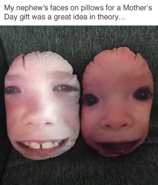 funny pics for facebook of mother's day gift faces on pillow