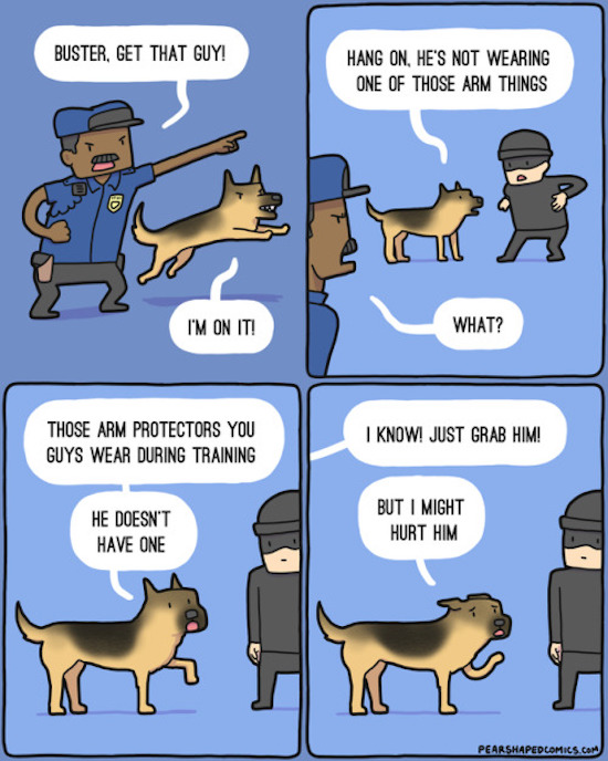 funny picture of attack dog training comic by pear shaped comics
