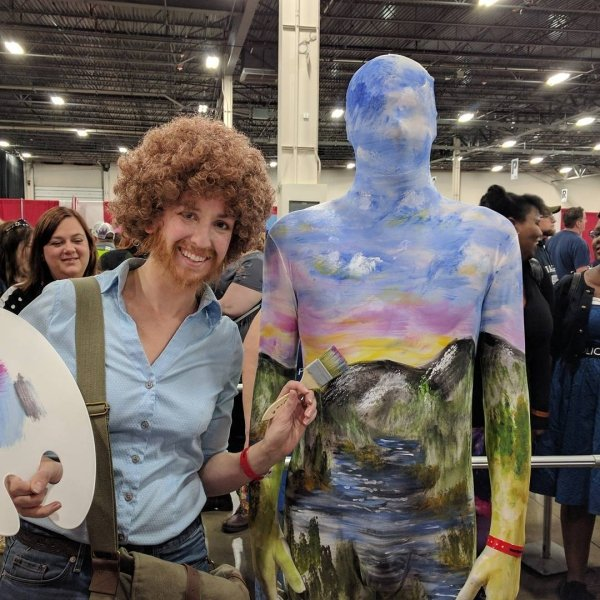 funny pic of bob ross couples costume