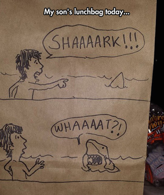 funny picture of drawing on a lunchbag of a shark