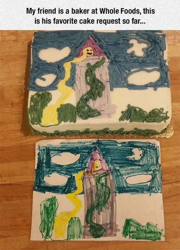 funny picture of a rapuzenl drawing by a kid on a cake