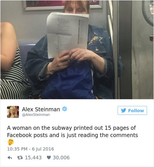 funny image of woman reading print out of facebook comments