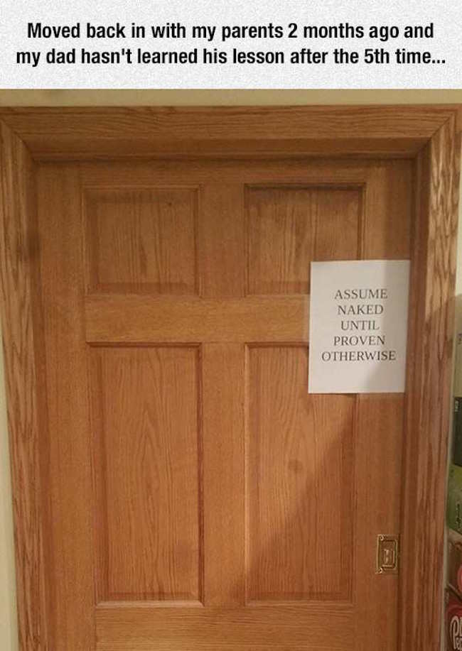 funny picture of sign on bedroom door that says assume naked