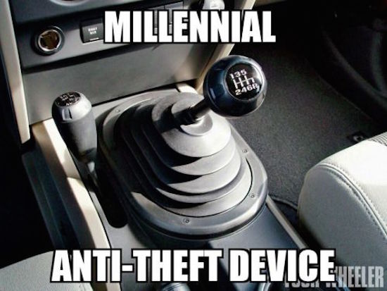 hilarious picture of millennial anti-theft device maunal transmission