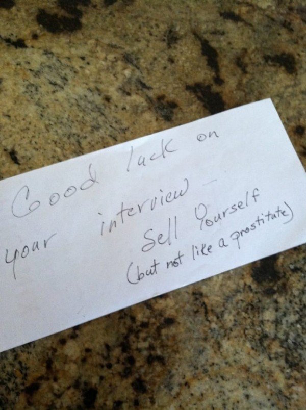 funny picture of note from mom that says sell yourself not like a prostitute