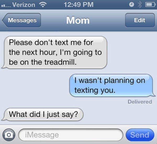 funny picture of text from mom asking not to text her