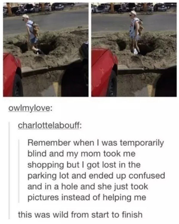 funny image of girl who was temporarily blind standing in a hole
