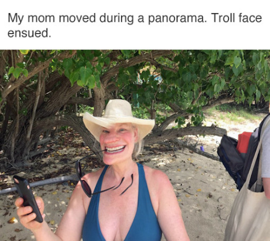 funny photo of panoramic fail of mom that looks like a troll