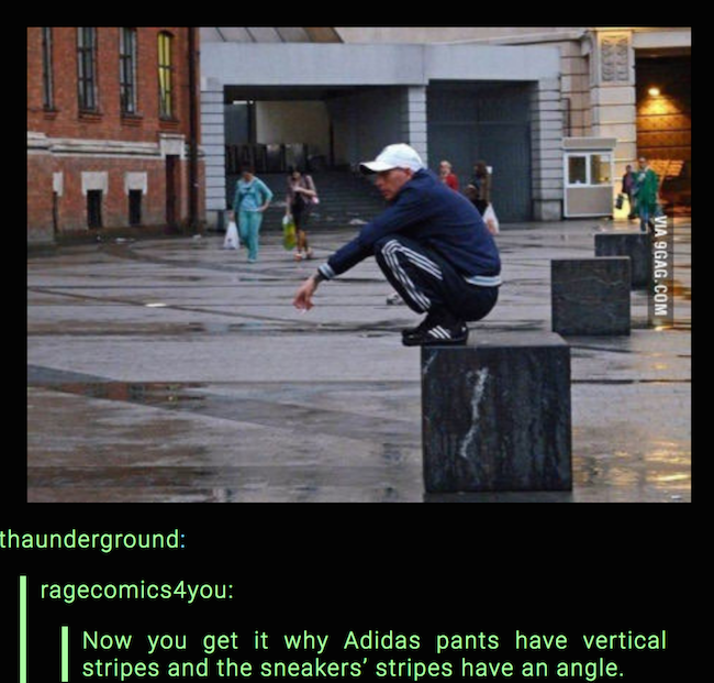 hilarious picture of adidas stripes on pants and shoes
