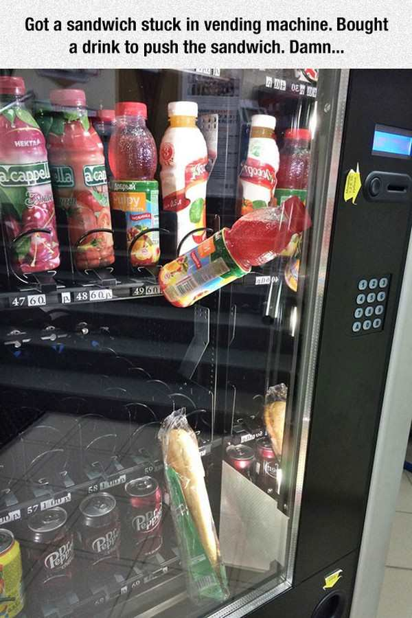 goofy and funny picture of sandwich and gatorade stuck in vending machine