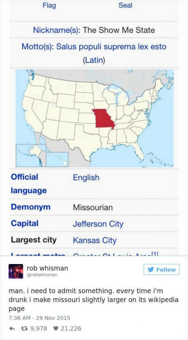 funny pic of change the size of missouri in wikipedia tweet