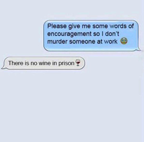 funny pic of no wine in prison text