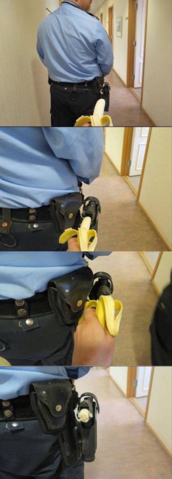 funny photo of banana in holster