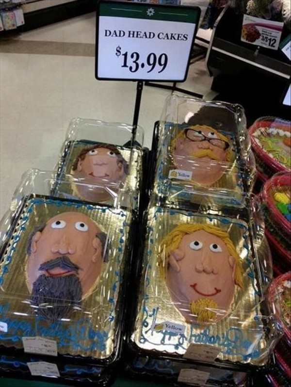 funny picture of cakes in the shape of dad heads