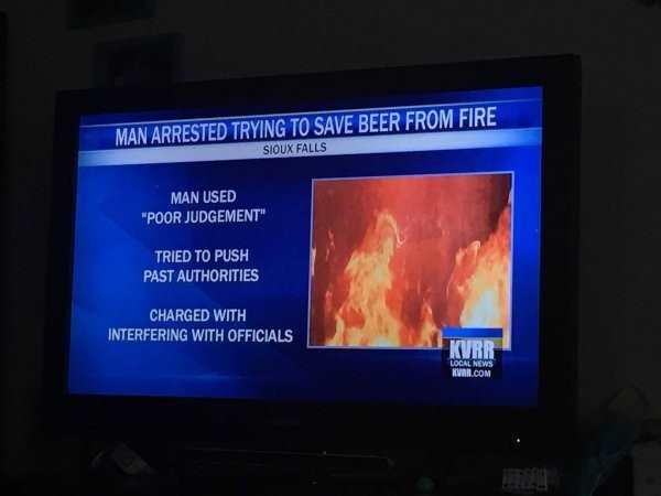 funny pic of man arrested trying to save bee from fire headline