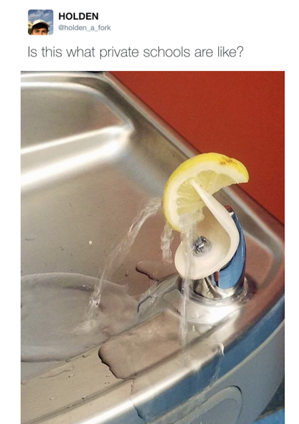 funny pic of private school lemon on drinking fountain