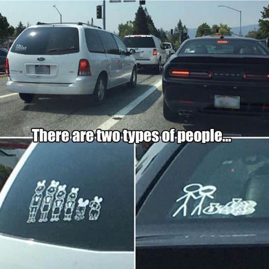 picture of two types of people family car decal