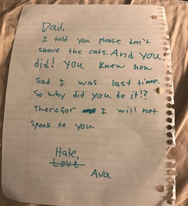 funny photo of note from daughter to dad about shaving cats
