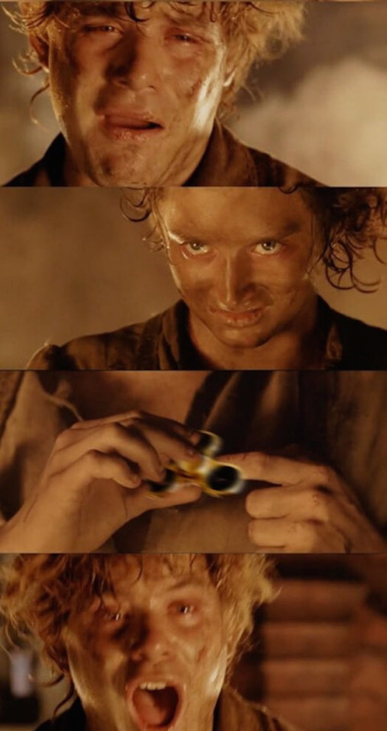 funny pic of lord of the rings with fidget spinner