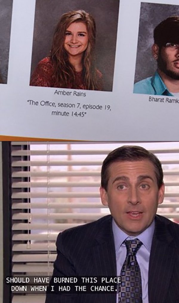 funny image of the office season 7 yearbook quote