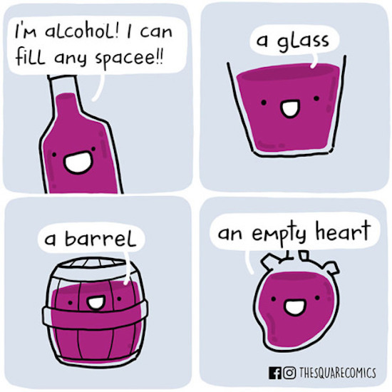 funny photo of alcohol fills an empty heart comic by square comics