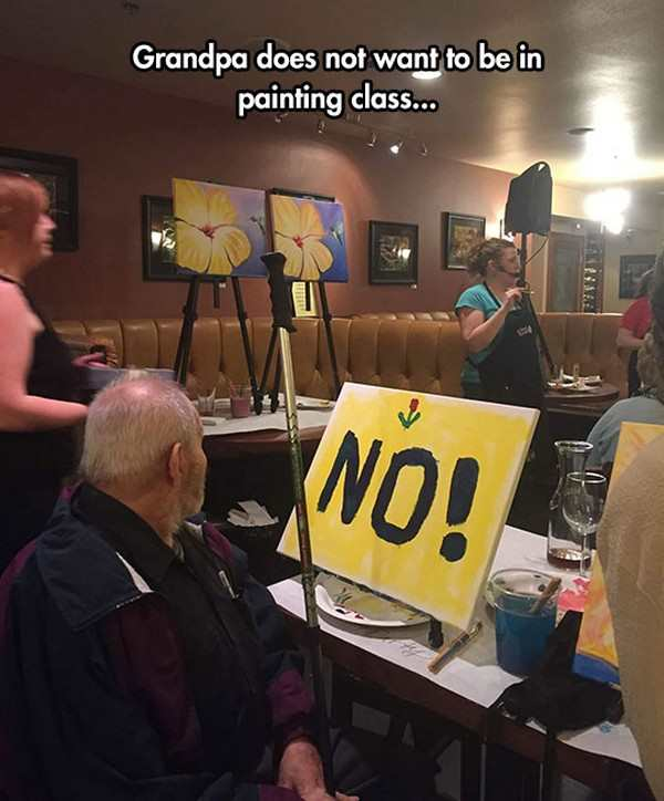funny pic of grandpa doesn't want to be in painting class