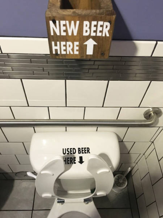 hilarious photo of bathroom signs that say new beer here used beer here