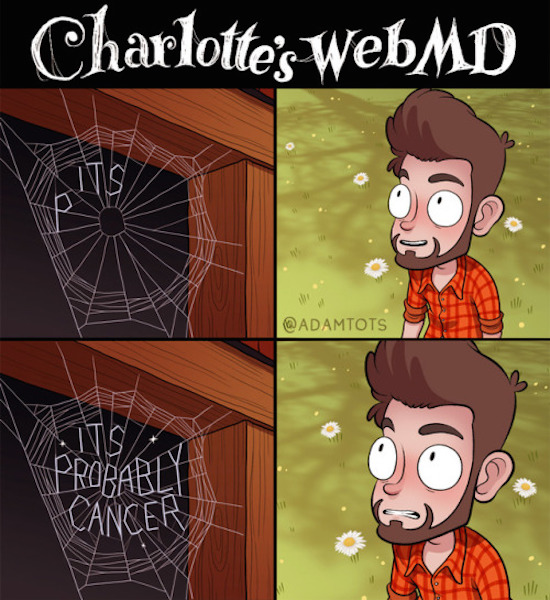 funny photo of charlotte's webmd comic by adam tots