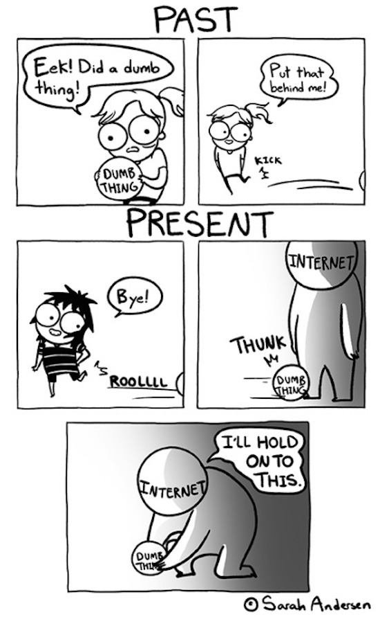 silly pic of sara andersen comic about the past and the internet