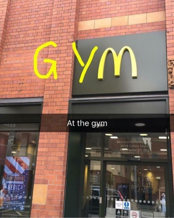 funny picture of mcdonald's sign with g and y added to it to say gym