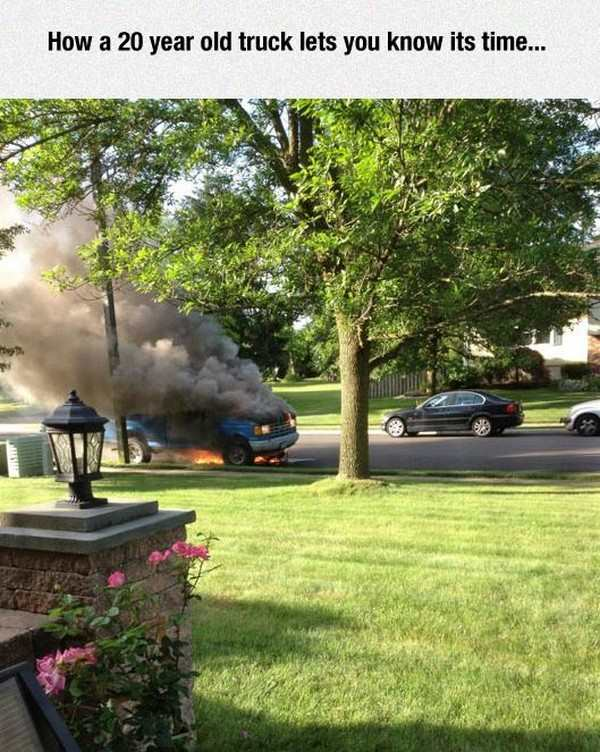 silly picture of 20 year old car on fire
