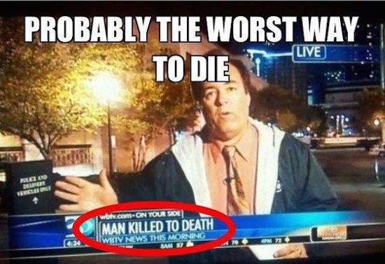 silly picture of man killed to death headline