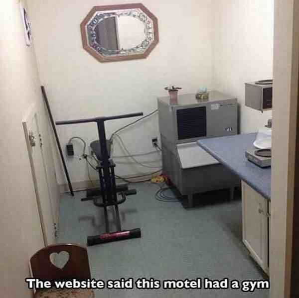 funny image of awful gym in a motel