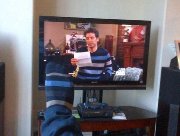 funny image of sock matches a shirt on TV