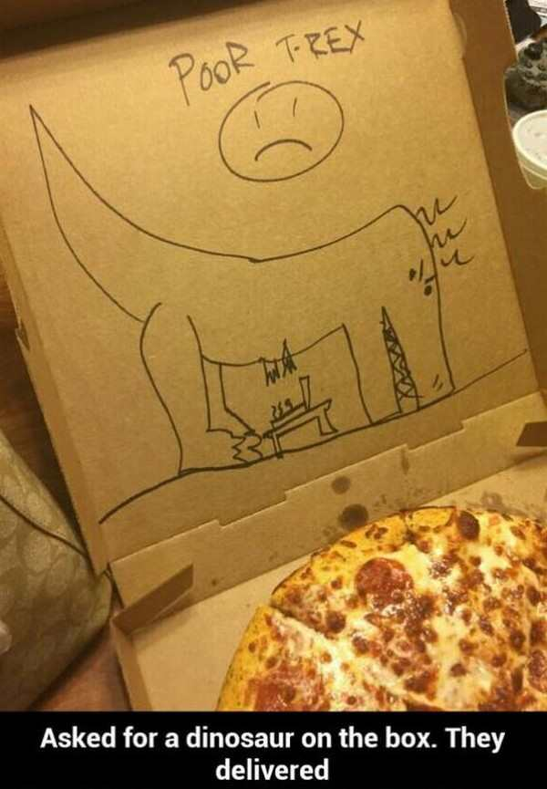 funny picture of t-red drawn on a pizza box
