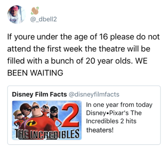 funny picture of tweet about the incredibles 2