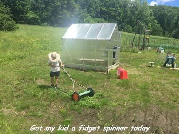 funny image of lawnmower is the original fidget spinner
